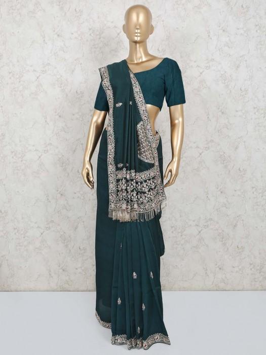 Cotton Silk Bottle Green Wedding Wear Saree