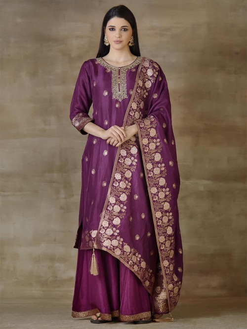 Cotton Silk Designer Purple Sharara Salwar Suits For Festivals