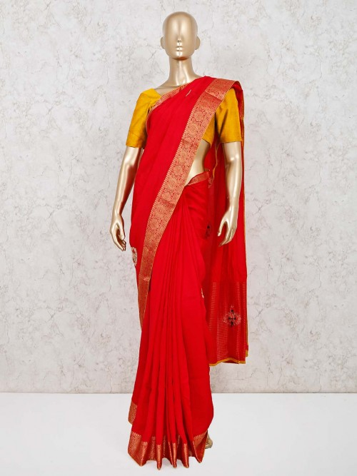 Cotton Silk Embellished Saree In Red Color