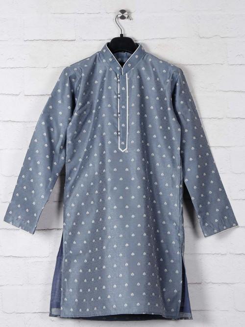Cotton Silk Kurta Suit In Grey