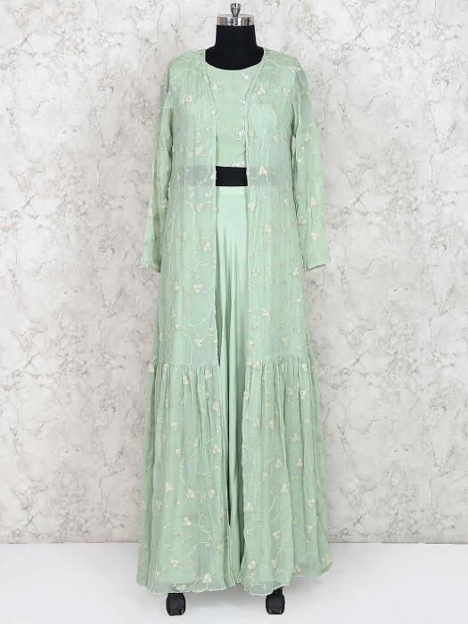 Cotton Silk Lehenga Choli In Pista Green