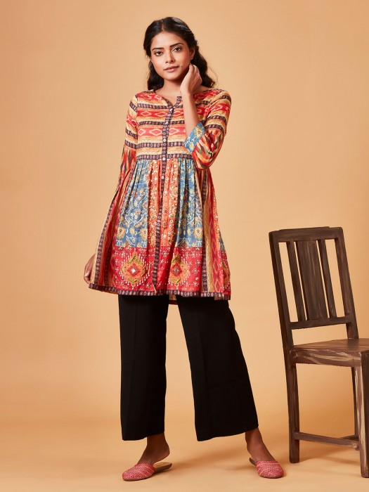 Cotton Silk Lovely Printed Peach Kurti