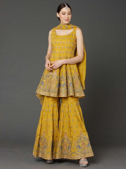 Cotton Silk Mustard Yellow Punjabi Sharara Suit