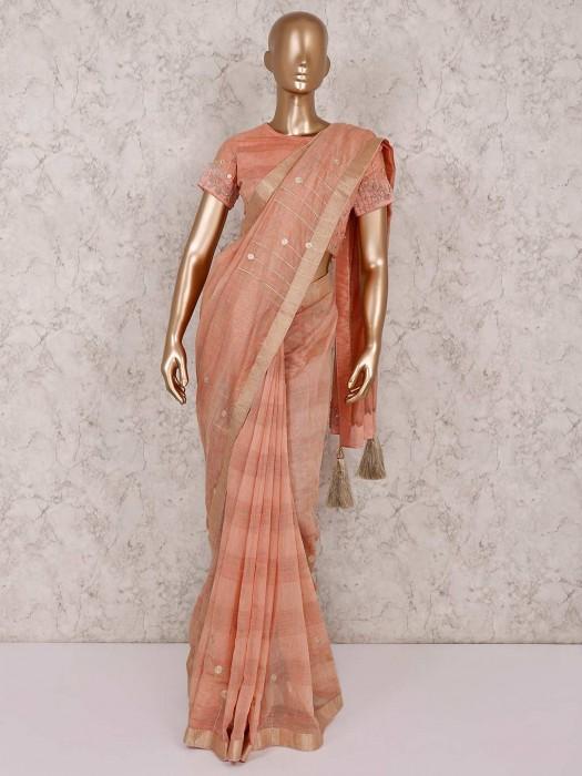 Cotton Silk Peach Saree With Ready Made Blouse