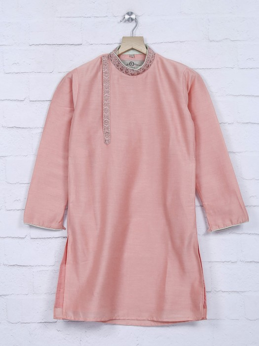 Cotton Silk Pink Color Festive Kurta Suit