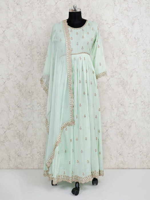 Cotton Silk Pista Green Party Salwar Suit