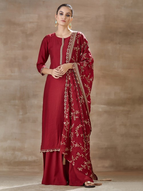 Cotton Silk Punjabi Palazzo Suit In Maroon Wine