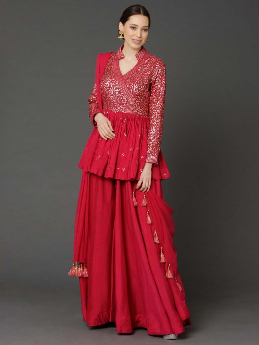 Cotton Silk Dark Pink Peplum Style Designer Sharara Suit
