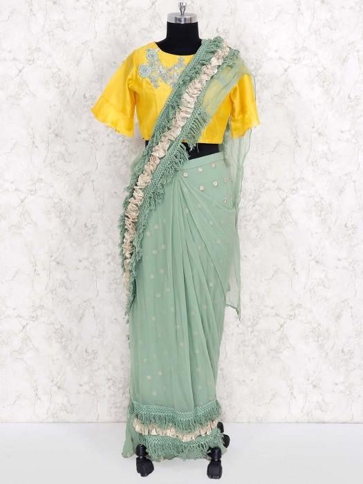Cotton Silk Yellow And Light Green Designer Ready To Wear Saree