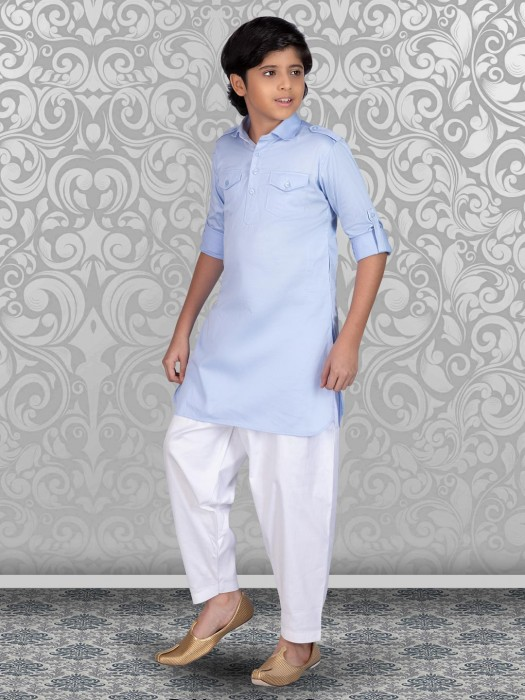 Cotton Sky Blue And White Pathani Suit