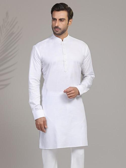 Cotton White Kurta For Mens