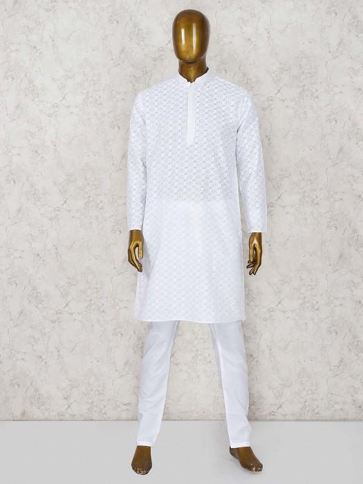 Cotton White Party Function Stan Collar Kurta Suit