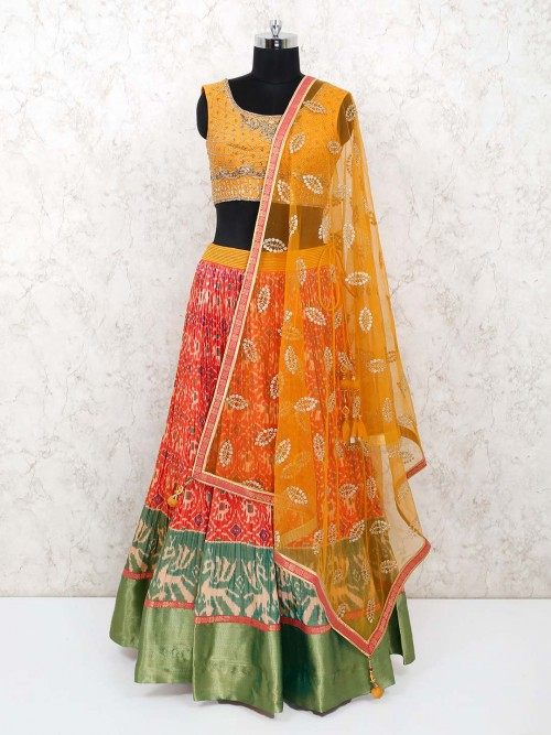 Cotton Yellow And Orange Printed Lehenga Choli