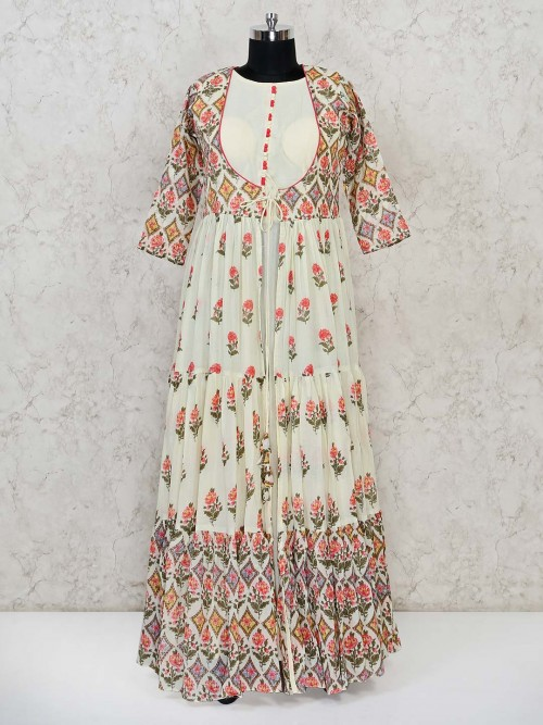 Cream Anarkali Printed Suit For Festivals