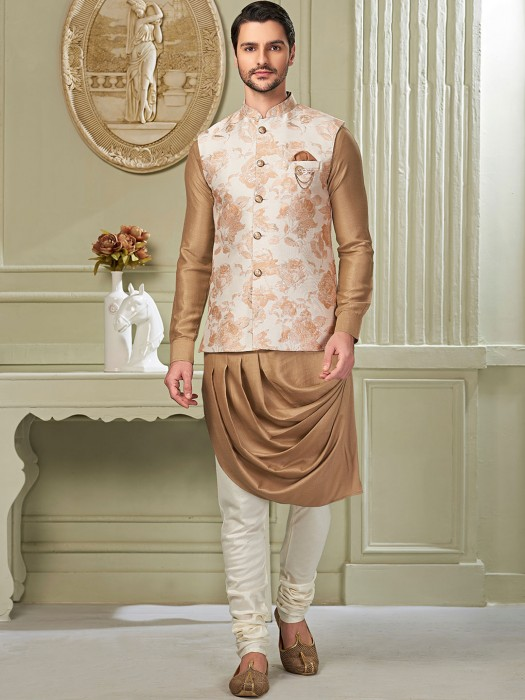 Cream And Beige Cotton Silk Waistcoat Set For Party