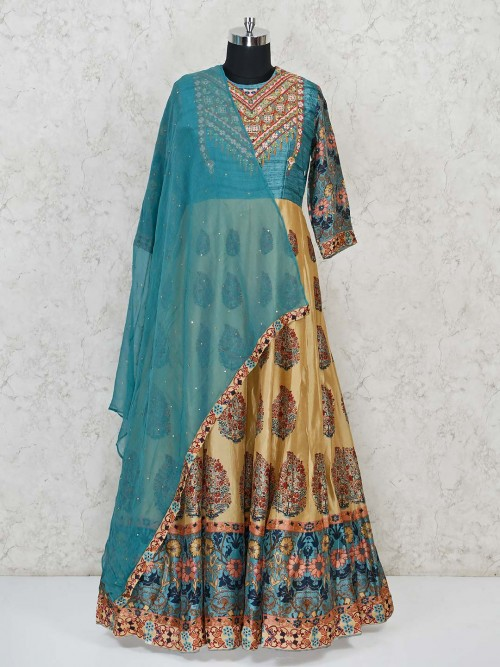 Cream And Blue Anarkali Suit With Paisley Motives Ptrint
