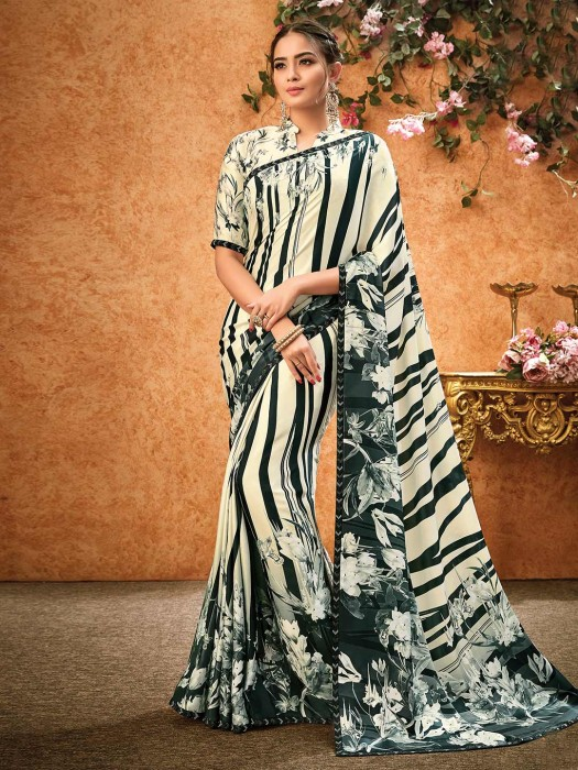 Cream And Bottle Green Saree In Crepe