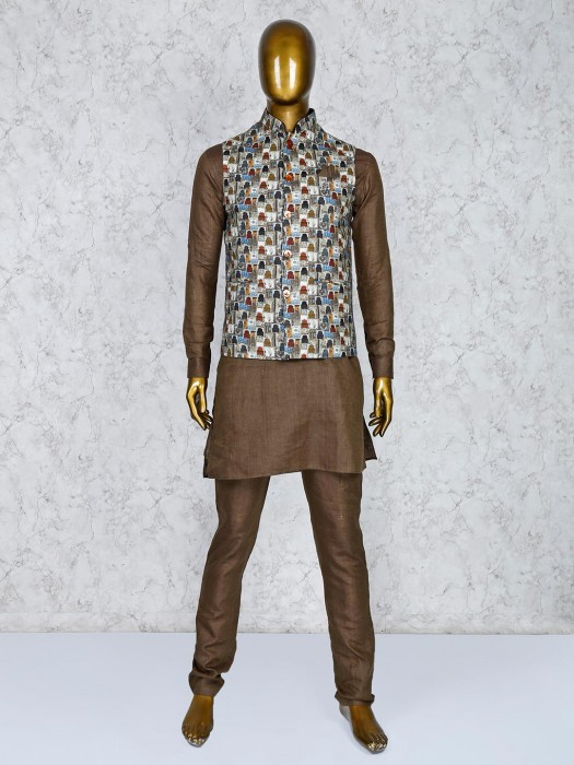 Cream And Brown Printed Party Wear Waistcoat Set