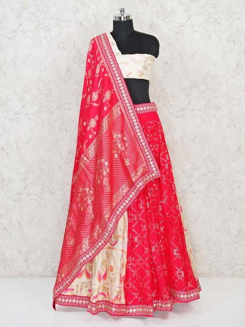 Cream And Magenta Half And Half Banarasi Georgette Semi Stitched Lehenga Choli