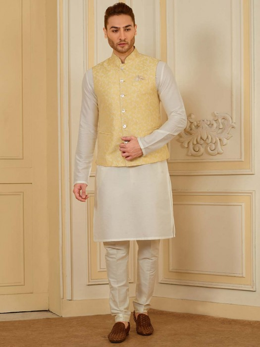 Cream And Off White Hue Party Wear Waistcoat Set