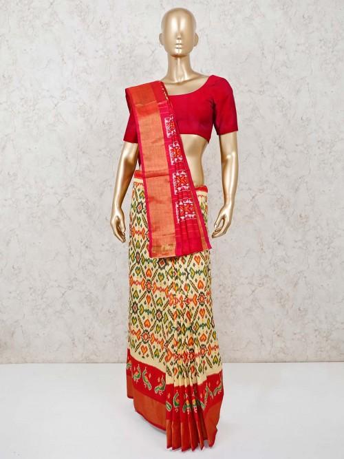 Cream And Red Ikat Weaving Hyderabadi Patola Silk Saree For Festivals