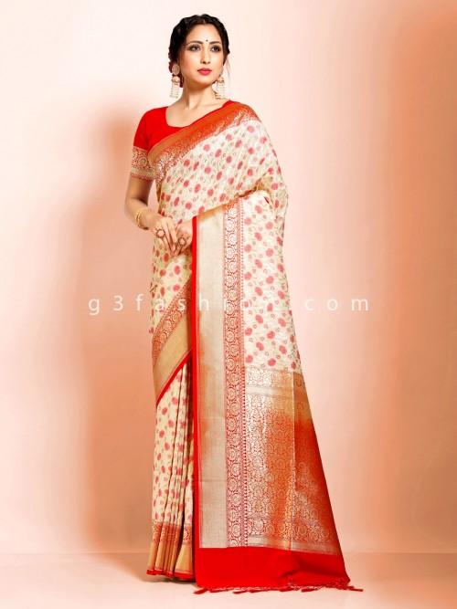 Cream Art Banarasi Silk Wedding Wear Saree With Tassels Trimmed