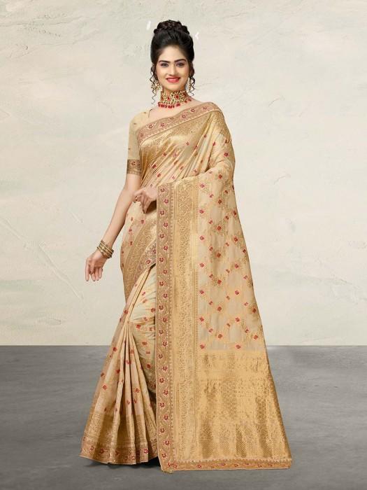 Cream Banarasi Silk Reception Occasion Saree