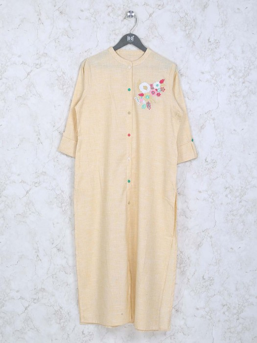 Cream Color Cotton Fabric Casual Kurti