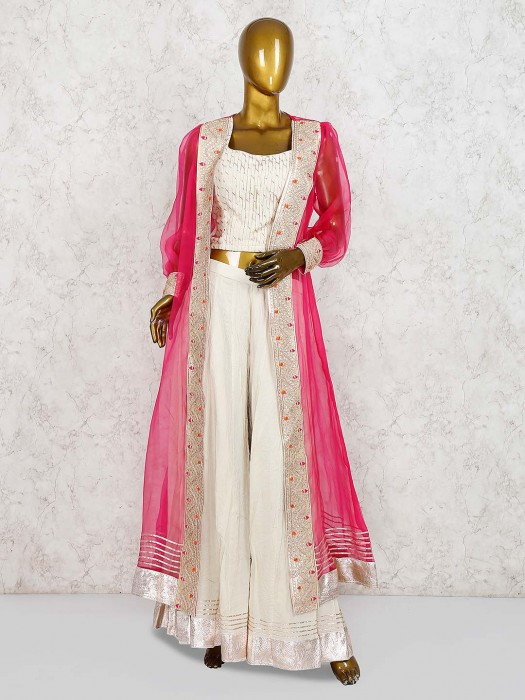 Cream Color Cotton Silk Jacket Style Punjabi Palazzo Suit