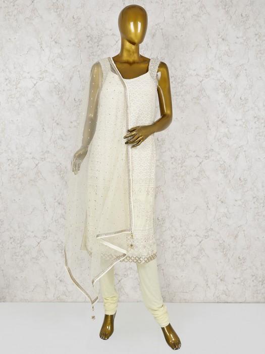 Cream Color Georgette Festive Salwar Suit