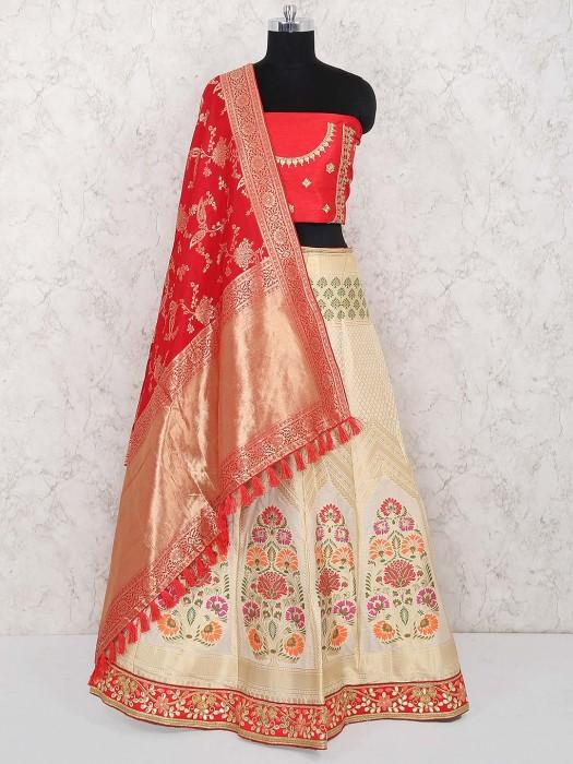 Cream Color Semi Stitched Banarasi Silk Lehenga Choli