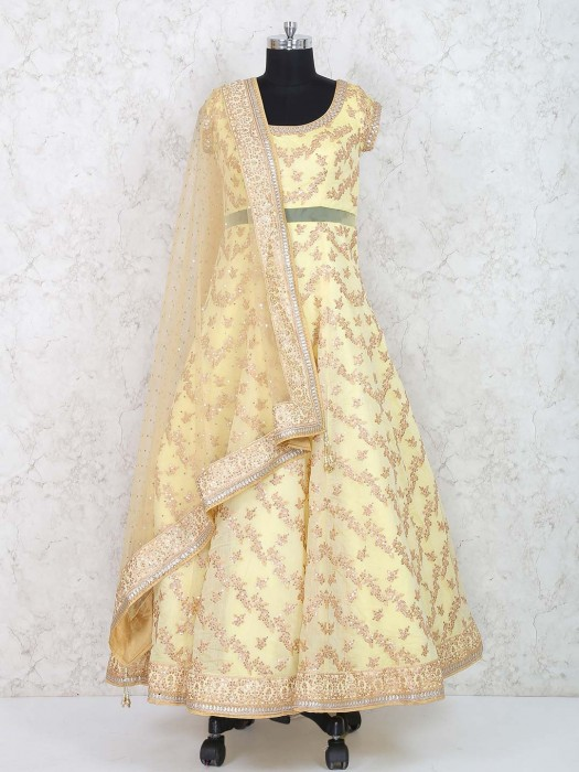 Cream Color Wedding Floor Length Anarkali Suit