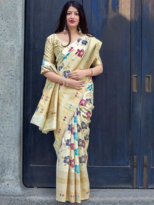 Cream Colored Semi Silk Festive Saree