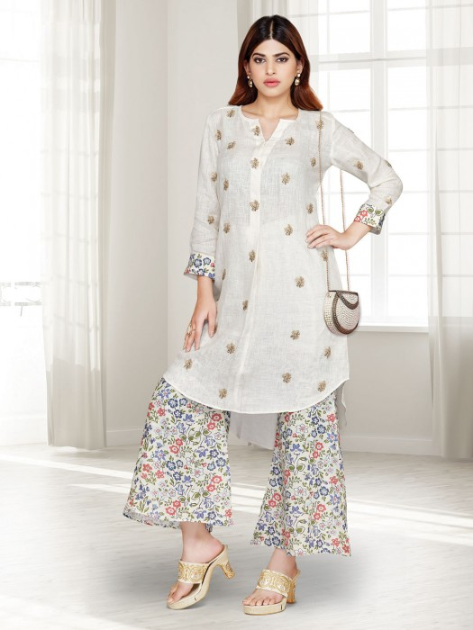 Cream Cotton Festive Wear Punjabi Palazzo Suit