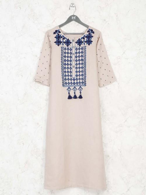 Cream Cotton Kurti For Casual Wear