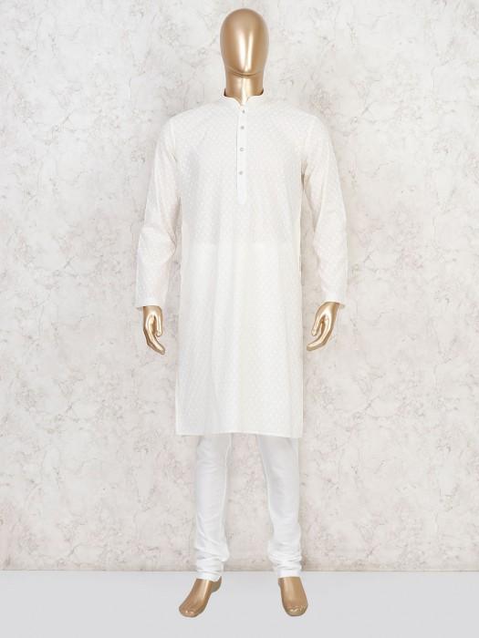 Cream Cotton Lakhnavi Work Kurta Suit