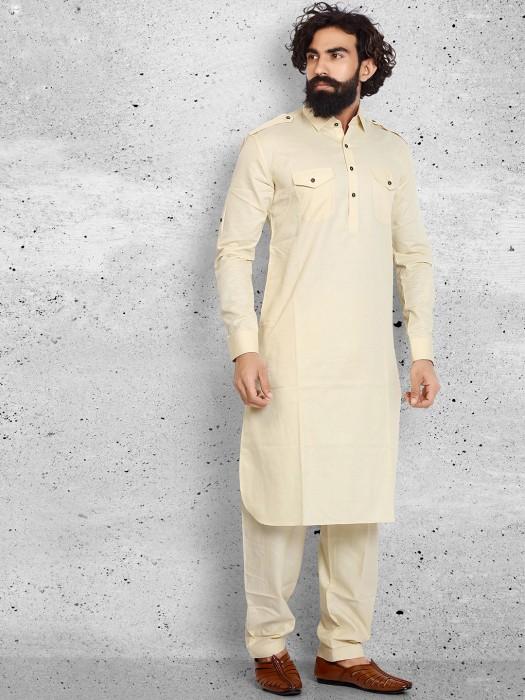 Cream Cotton Pathani Suit