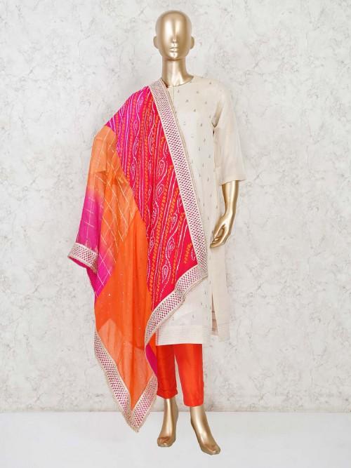 Cream Cotton Punjabi Salwar Suit Festive Wear