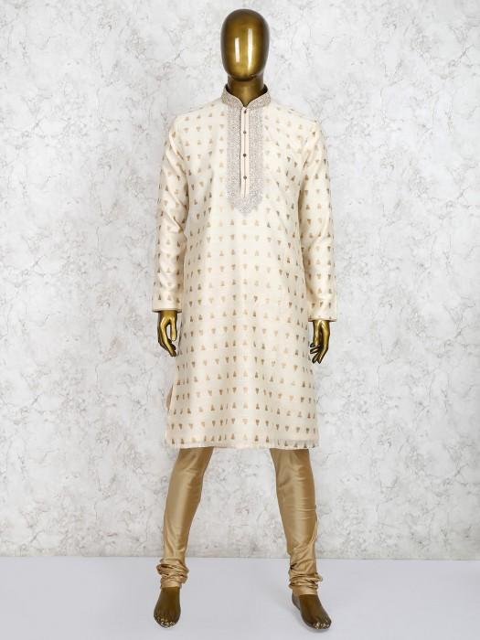 Cream Cotton Silk Festive Wear Kurta Suit