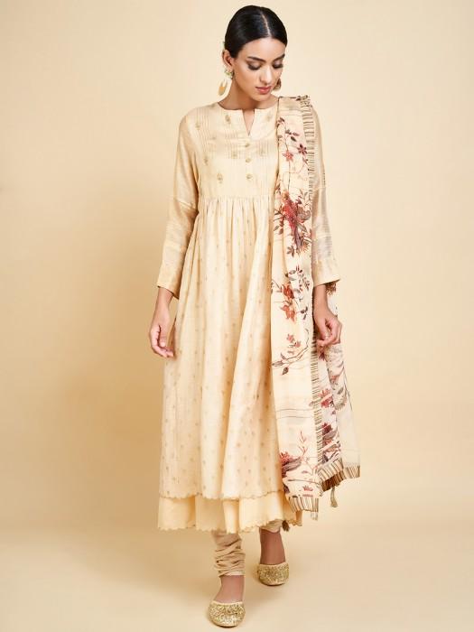Cream Cotton Silk Punjabi Double Layer Salwar Suit