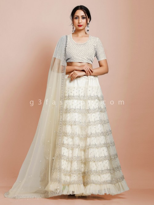 Cream Designer Semi Stitched Lehenga Choli In Net