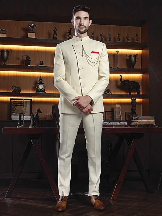 Cream Designer Solid Slim Fit Jodhpuri Suit