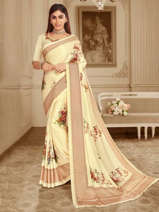 Cream Festive Wear Satin Printed Sari