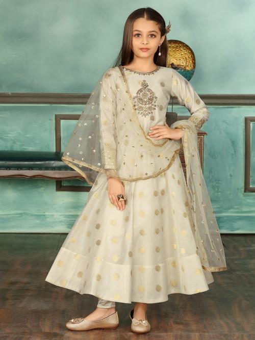 Cream Floor Length Anarkali Suit In Cotton Silk