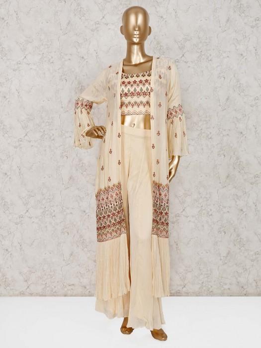 Cream Georgette Designer Palazzo Suit