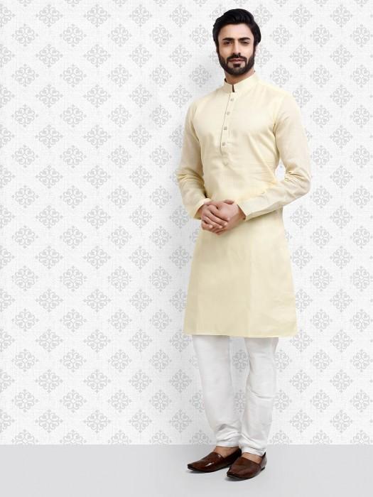Cream Hue Cotton Fabric Festive Kurta Suit