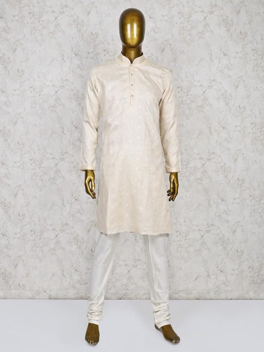 Cream Hue Cotton Silk Stand Collar Kurta Suit