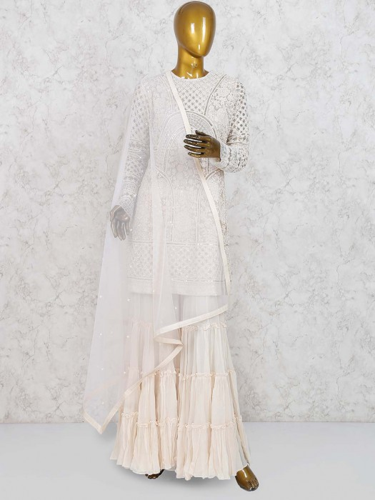 Cream Hue Net Punjabi Sharara Suit
