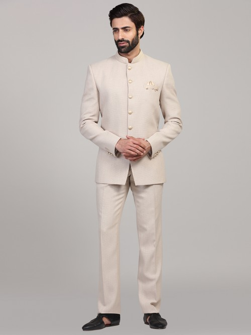 Cream Hue Party Wear Solid Jodhpuri Suit
