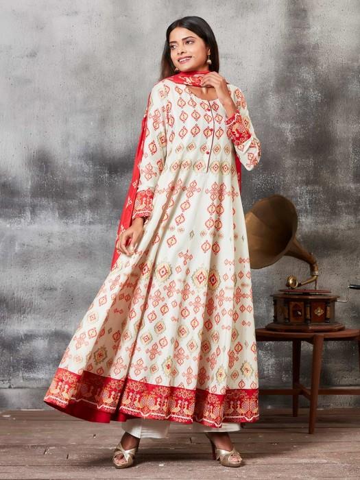 Cream Hue Raw Silk Printed Punjabi Salwar Suit